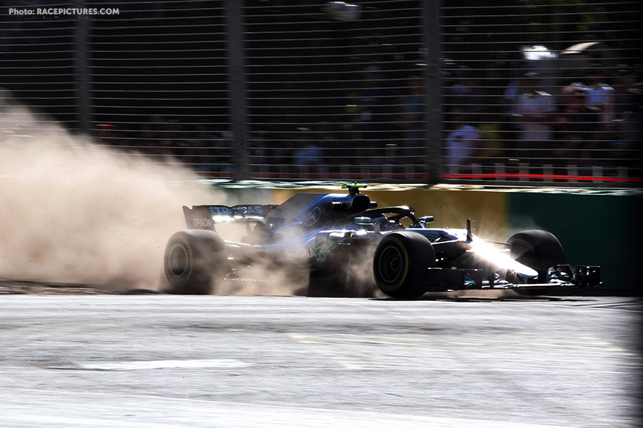 Valtteri Bottas (FIN) Mercedes AMG F1 W09 runs wide