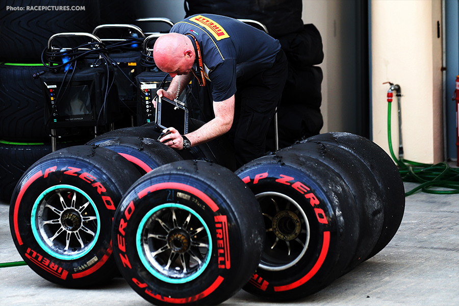Pirelli engineer with tyres