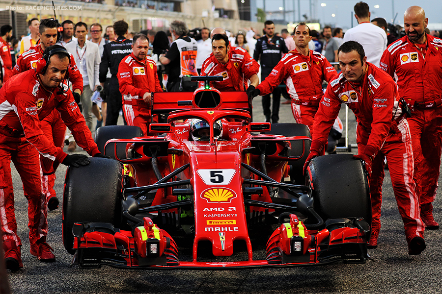 Sebastian Vettel (GER) Ferrari SF71H on the grid.