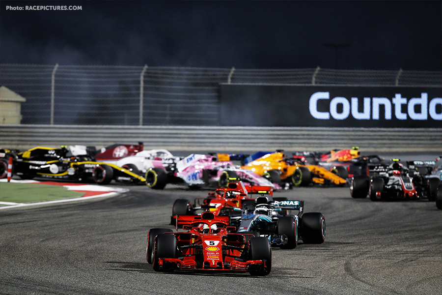 Sebastian Vettel (GER) Ferrari SF71H leads at the start of the race.