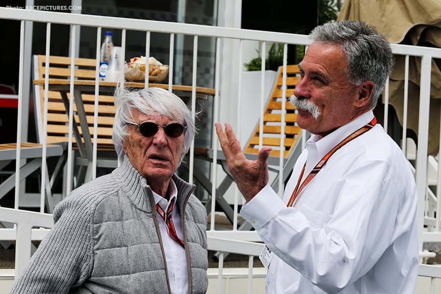 Bernie Ecclestone (GBR) with Chase Carey (USA) Formula One Group Chairman.