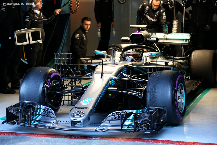Lewis Hamilton (GBR) Mercedes AMG F1 W09 running sensor equipment.
