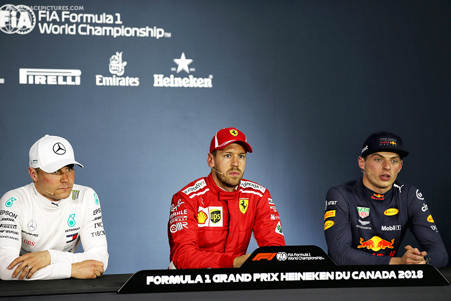 The post qualifying FIA Press Conference (L to R): Valtteri Bottas (FIN) Mercedes AMG F1, second; Sebastian Vettel (GER) Ferrari, pole position.
