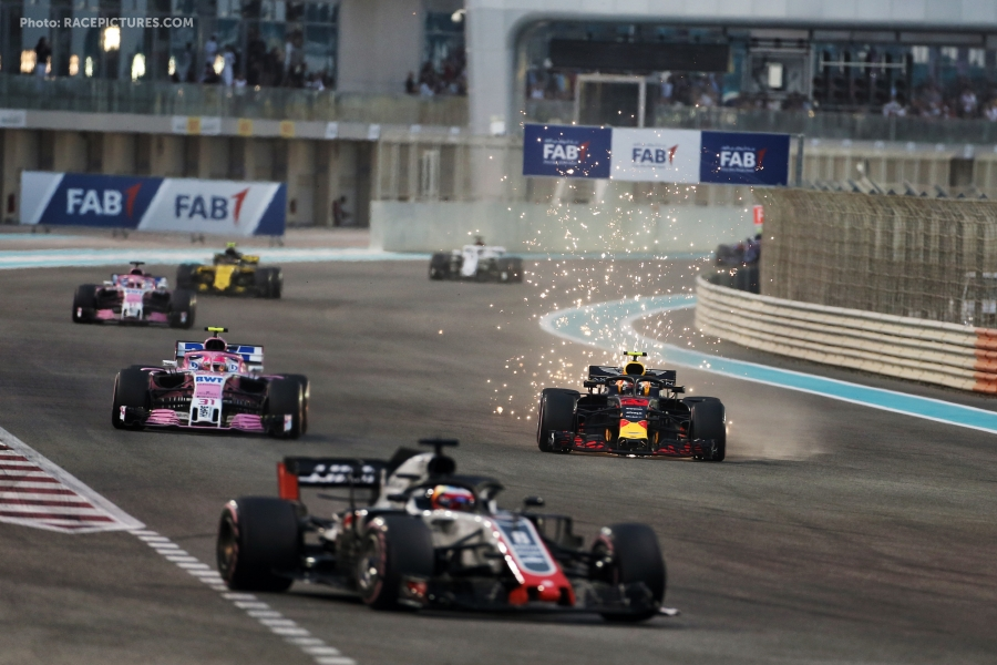 Max Verstappen (NLD) Red Bull Racing RB14 sends sparks flying.