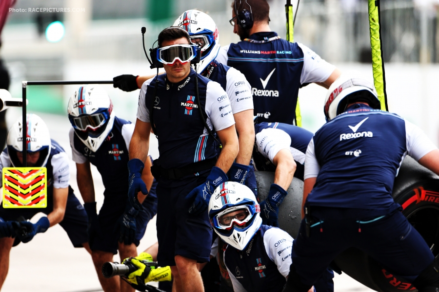 Williams practices a pit stop.