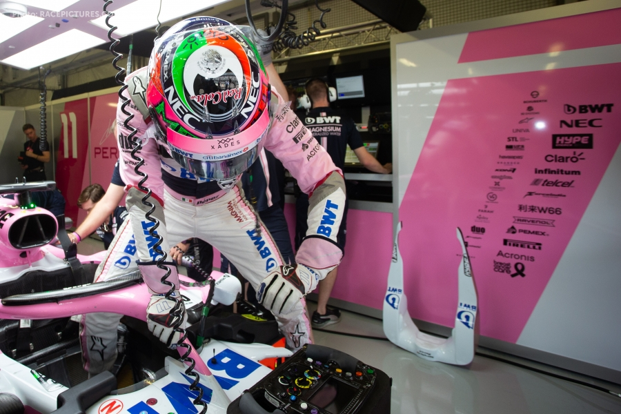 Sergio Perez (MEX) Racing Point Force India F1 VJM11.