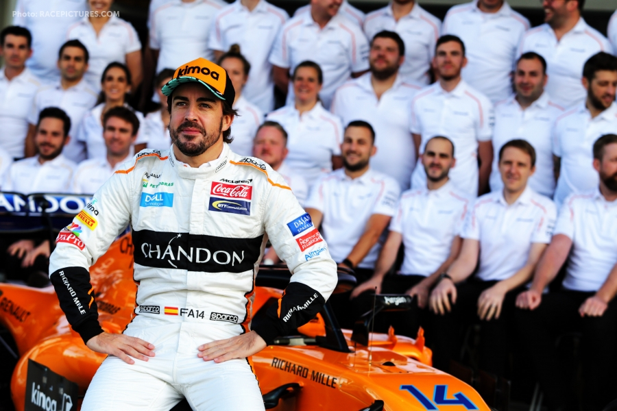 Fernando Alonso (ESP) McLaren at a team photograph.