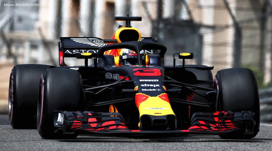Red-Bull and Mercedes close together in first practice Monaco.